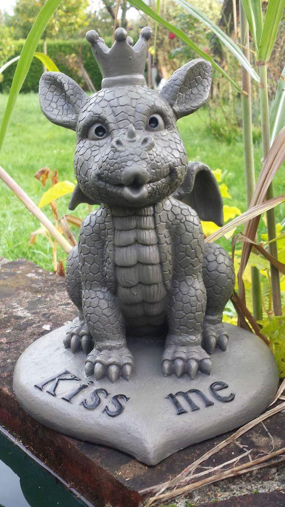 Drache Kiss Me Gartendrache Figur Gartenfiguren Gargoyle Drachen Figuren Deko Garten Terrasse Dekoration Garten Dragon Decor Dragon Sculpture Baby Dragon