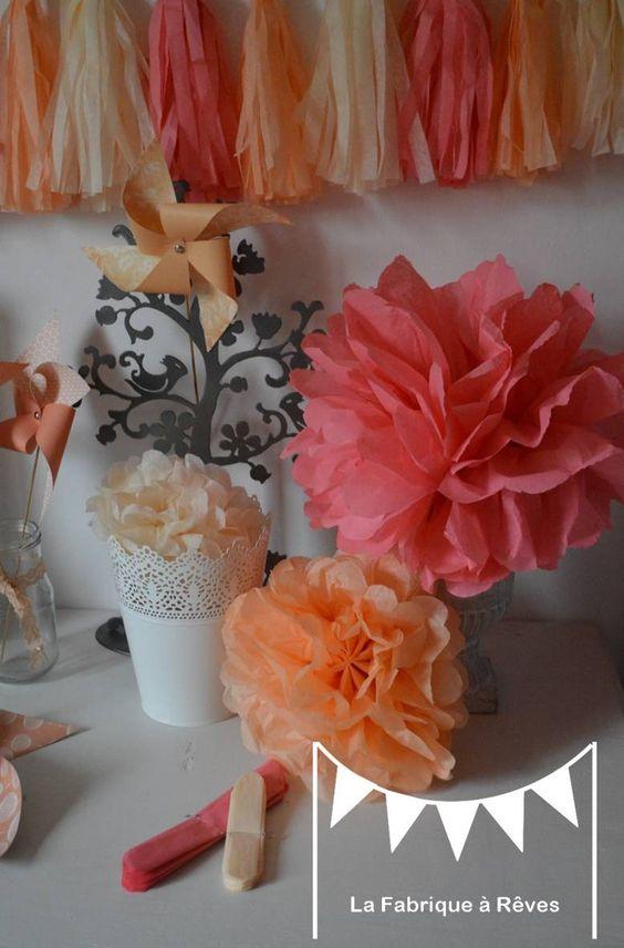 12 pompons papier soie peche abricot beige corail d coration mariage d coration chambre. Black Bedroom Furniture Sets. Home Design Ideas