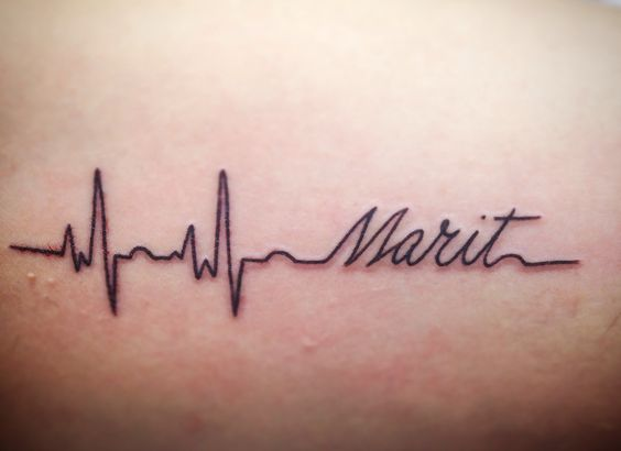My First tattoo. Heart beat with name of my daughter ...
