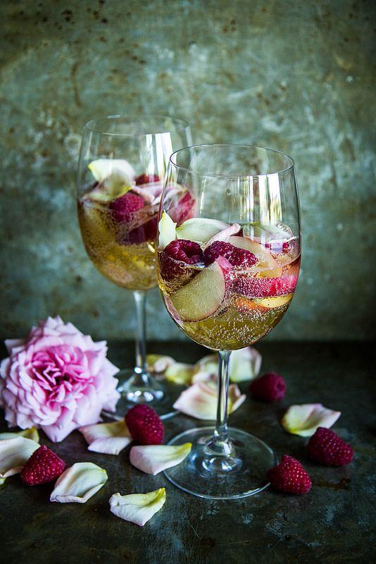 Nectarine Raspberry Rose Prosecco Punch from @heatherchristo