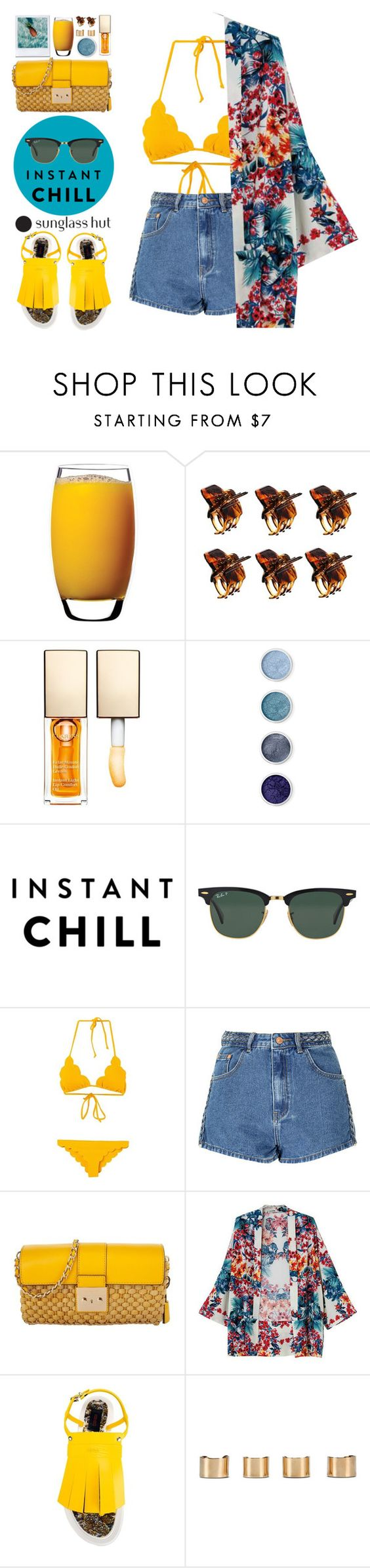 """Shades of You: Sunglass Hut Contest Entry"" by blueberrylexie ❤ liked on Polyvore featuring Luigi Bormioli, ASOS, Clarins, Terre Mère, Ray-Ban, Marysia Swim, Glamorous, Michael Kors, Kenzo and Maison Margiela"