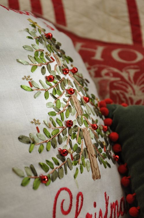 Ribbon embroidery and christmas pillow on