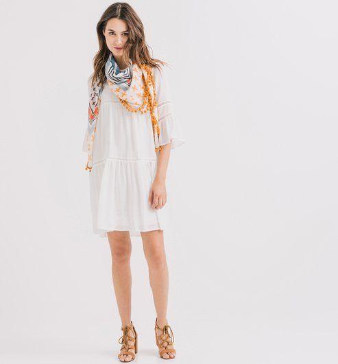 Robe à volants Femme ecru - Promod