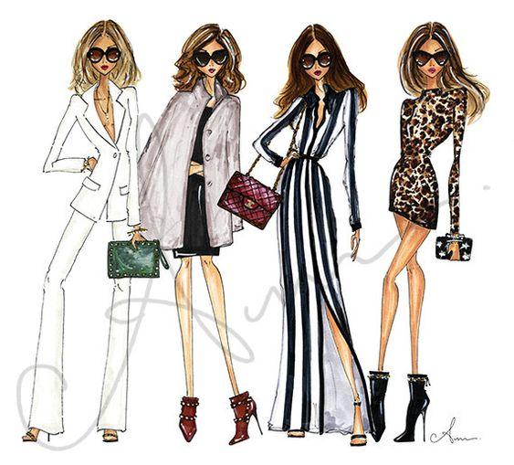 Fashion Illustration Print Fashion Friends 8x10 by anumt on Etsy