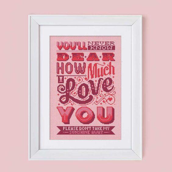 How Much I Love You  Cross Stitch Pattern Digital por Stitchrovia