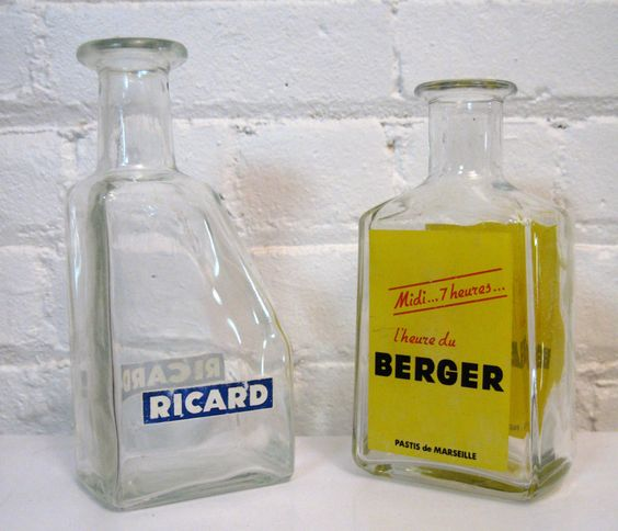 1950s Ricard and Berger France Pastis Bottles Anise Licorice Beverage Absinthe by Modarts1 on Etsy