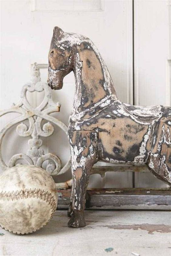 Brocante Vintage Shabby Chic Houten Paard