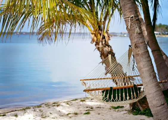 It may look like this cozy hammock resides in the Caribbean, but no this is what our home The Space Coast looks like.