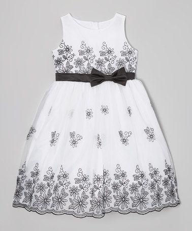 Look at this #zulilyfind! Black & White Floral Dress - Toddler & Girls #zulilyfinds