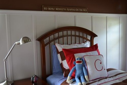"the sign - ""no more monkeys jumping on the bed"""
