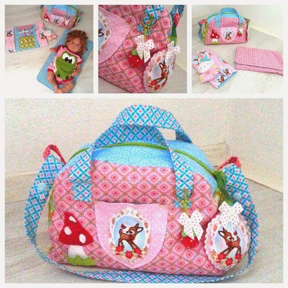 ♥ LittleSunKids ♥: Puppen Wickeltasche mit allem drum und dran