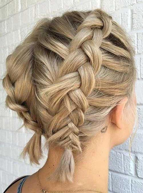 8 Simple Two Braids Updo For Short Hair Braidedforshorthair Braids For Short Hair Short Hair Updo Hair Styles