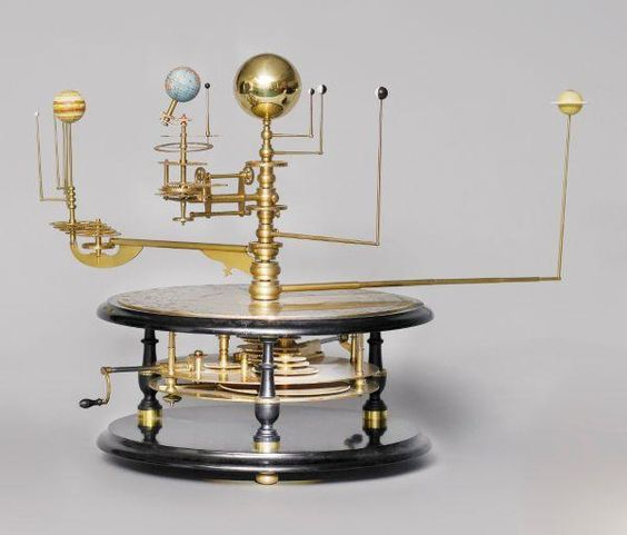 A limited edition grand orrery, George Gyori, recent, mounted on a wooden ebonised base, separated by brass and wooden columns, engraved wit...