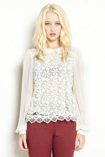 Vintage-style Lace Long Sleeve Shirt...perfect transition to fall!