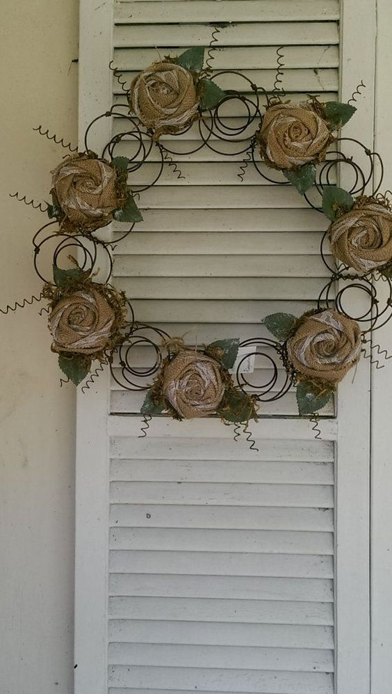 Bed Spring Wreath Converts Bed Spring Canvas Rose Rustic Metal Wreath Handmade #canvas #converts #metal #repurposeditems #rustic #spring #wreath