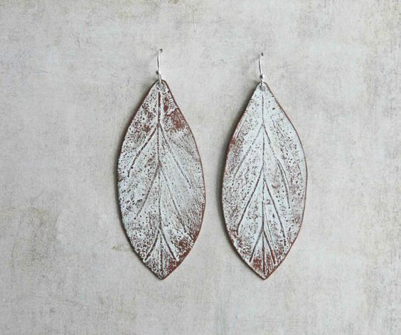 White Patina Copper Leaves Etched Woodland Leaf by LaFreeBoheme, $32.00