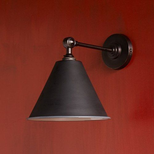 20th C Library Double Sconce E27 Light Swing Arm Wall Lamp Matt Black Lighting
