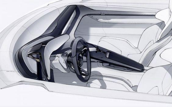 Porsche Mission E Concept Interior Design Sketch