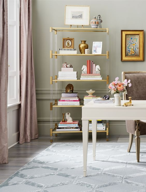 Love this sophisticated, polished home office style.