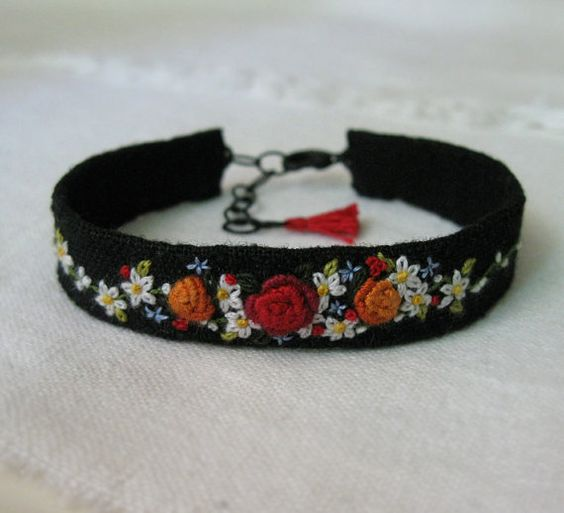 Floral Embroidered Cuff Bracelet, textile fiber art cuff bracelet, ooak bracelet