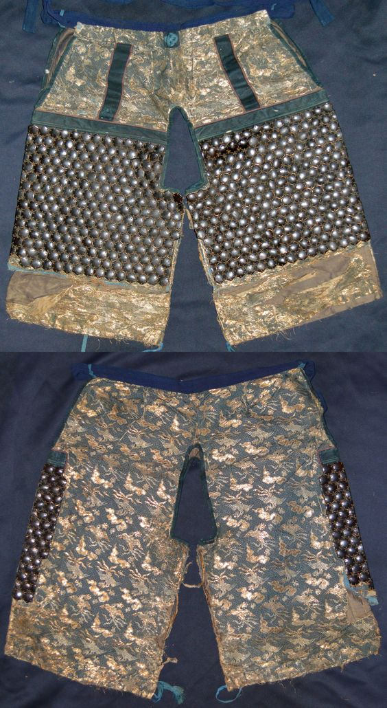 "Yoroi hakama (armored pants), brocade cloth with kikko armor attached to the thigh area. These are short pants (ko-bakama), the addition of kikko armor would make these ""kikko kobakama""."