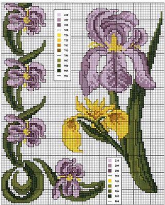 Flores lilas a punto de cruz ~ laboresdeesther Punto de cruz gratis