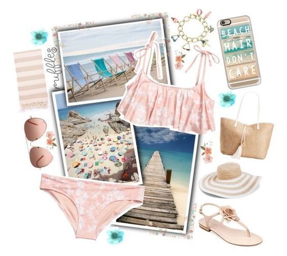 """""""Beach Hair Don't Care (Contest)"""" by nerdygalwithwings ❤ liked on Polyvore featuring Turkish-T, H&M, INC International Concepts, Casetify, Vera Bradley, Marc Fisher, beach and ruffledswimwear"""
