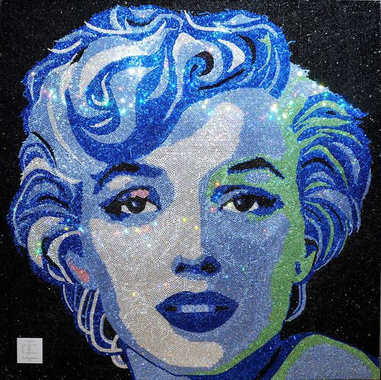 Rihanna purchased this Marilyn Monroe portrait made of Swarovski Crystals for   $ 160,000, the artist is Claire Milner.  65,000 Crystals and Weighs 182 Pounds - Now that's a piece of ART!!!