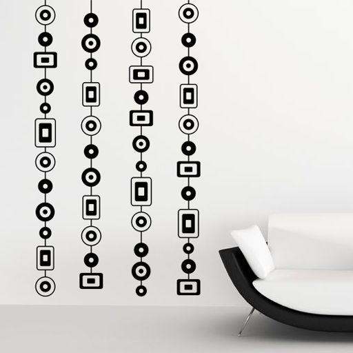 Vinilo decorativo para poner en paredes o muebles, formado por cortinas geométricas. Un diseño muy equilibrado y armónico.