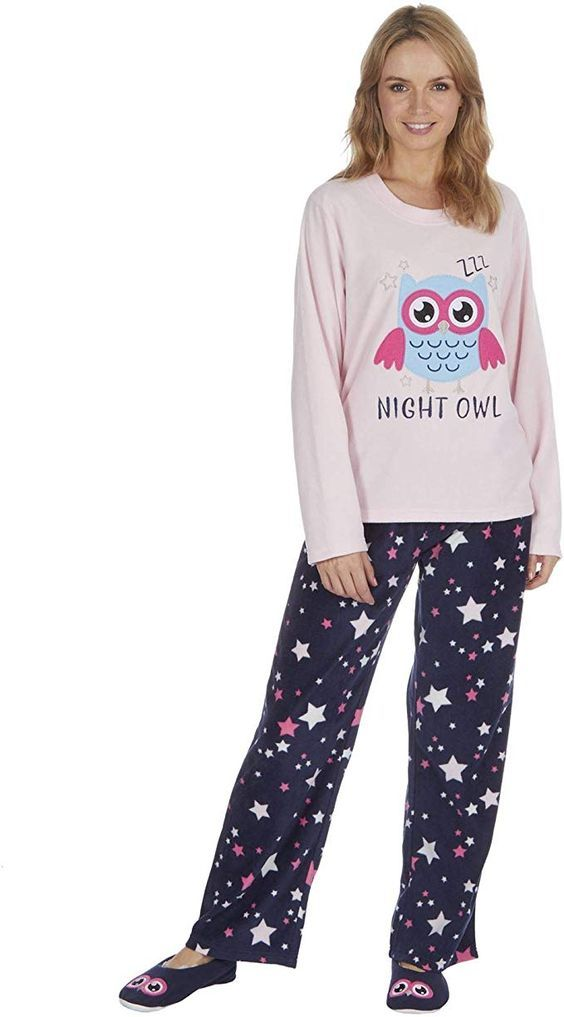 Ladies Bear Design Novelty Thermal Fleece Pyjama Set