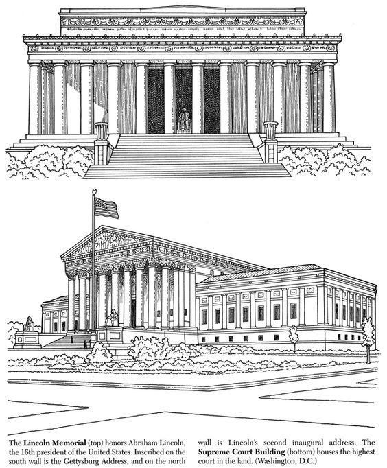 Lincoln Memorial Supreme Court Building Coloring Pages Building Sketch Washington Dc Travel
