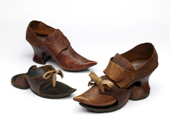 Most surviving women's shoes of the 18th century are made with fabric uppers. These have been collected for their silk patterns, but they only represent indoor footwear. Traversing the muddy streets of London in the days before tarmac and pavements required something much more durable on the foot. This very shapely pair of leather shoes were meant for outdoor wear, although given their excellent condition, they were probably only worn in the short and well-swept space between carriage and…