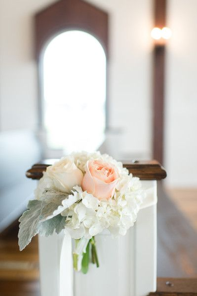 Winter rustic chic wedding ceremony aisle markers - pastel peach roses, dusty miller, white peonies {Julia M. Photography}
