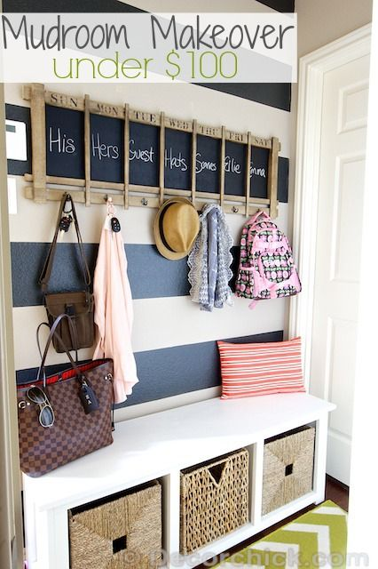 Mudroom Makeover on a Budget with Striped Wall | www.decorchick.com