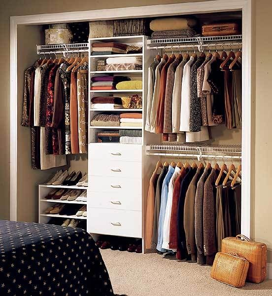 Master Bedroom closet…just one extra row of hanging on one side then add shelves for shoes on the other side?