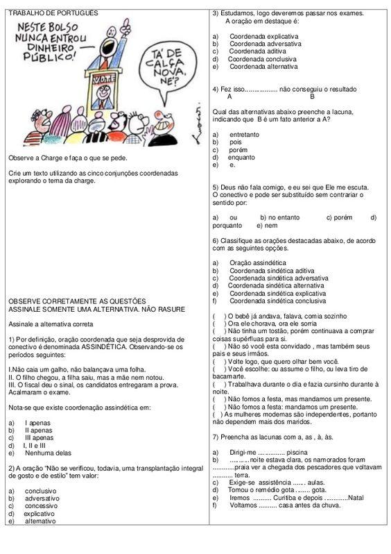 ATIVIDADES DIVERSAS CLÁUDIA: Atividade de Língua Portuguesa