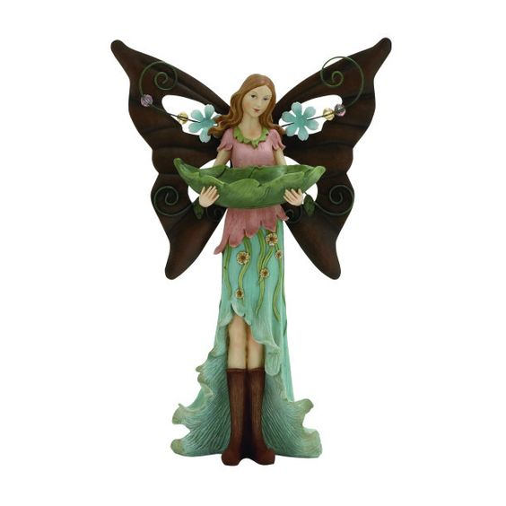 Polystone and Iron Fairy Decorative Bird Feeder