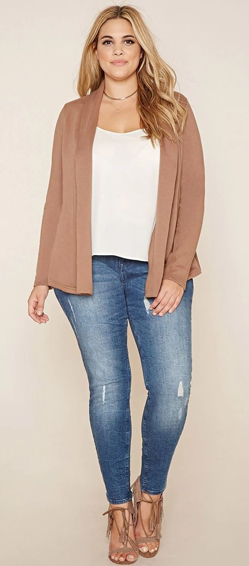 Plus Size Open-Front Cardigan: