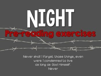 Worksheet Night Elie Wiesel Worksheets elie wiesel night and activities on pinterest pre reading for wiesels night