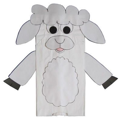 Paper bag lamb craft kid projects pinterest crafts for Cardboard sheep template