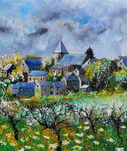 Awagne in spring, painting by artist ledent pol