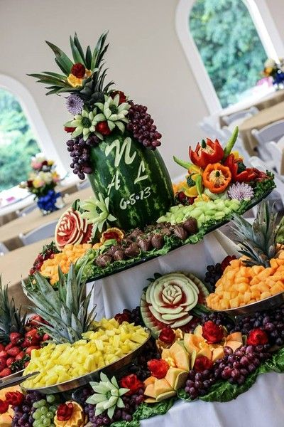Bountiful Fruit Display with Personalized Watermelon Carving
