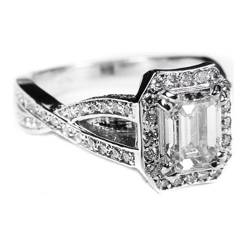 emerald cut twisted band engagement ring