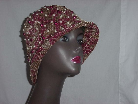 An amazing beauty. Cloche with beads, gold thread, quite divine.