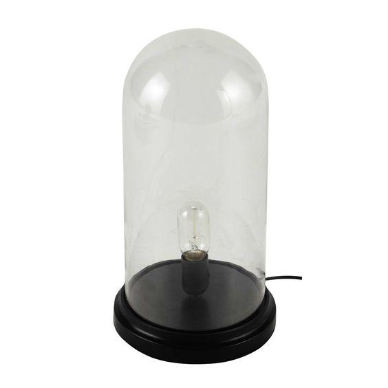 Lampe cloche en verre et bois noir H ...
