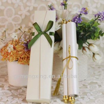 SC006-- printing scroll wedding invitations with gold tassels and paper box