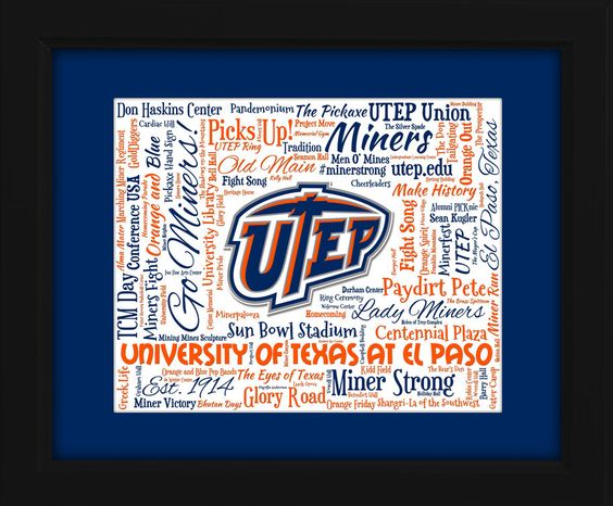 University of Texas at El Paso (UTEP) 16x20 Art Piece - Beautifully matted and framed behind glass by AODesignsOnline on Etsy https://www.etsy.com/listing/238020546/university-of-texas-at-el-paso-utep