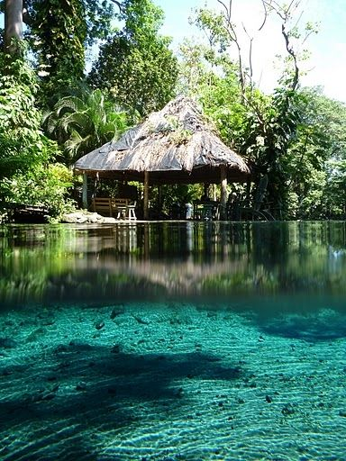 Ojo de Agua, Ometepe Island, Nicaragua. Ojo de Agua is a natural spring swimming hole where you can relax in clear, pure, medicinal and healthy fresh water of volcanic origin.