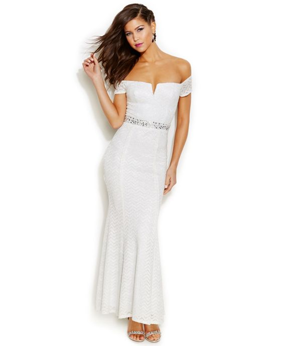 Speechless Juniors' Glittered Off-The-Shoulder Gown