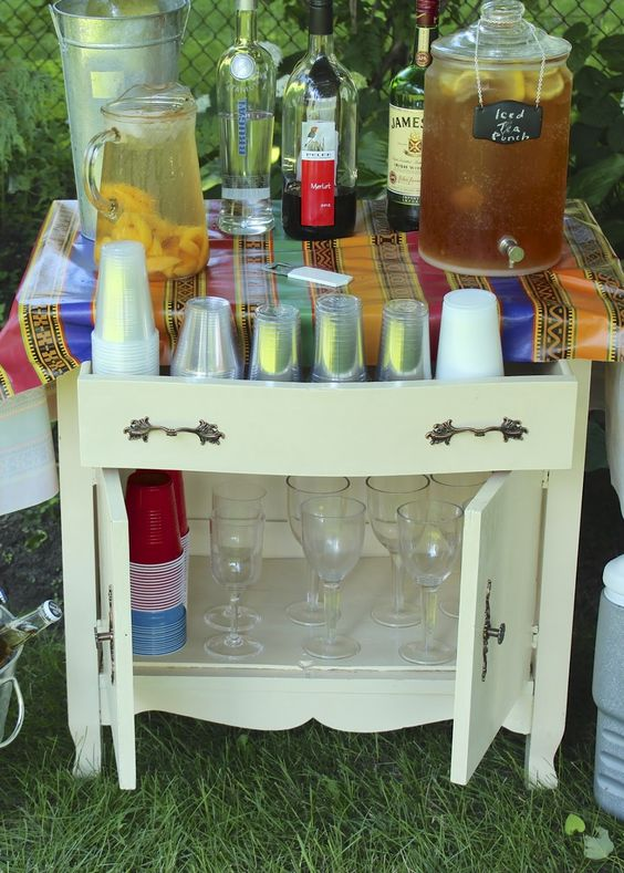 A Washstand Turned Beverage Station - New House New Home